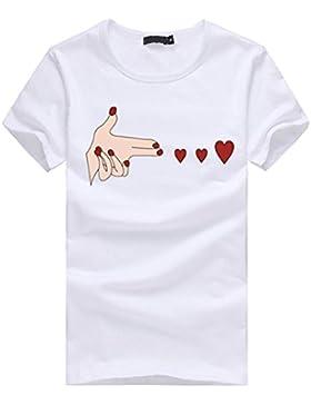 ❤️ Blusa Suelta Ocasional de La Camiseta de Las Camisetas de Manga Corta del Corazón de Las Mujeres Absolute