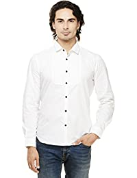 Rigo White Solid With Pintuck Slim Fit Casual Full Sleeve Shirt