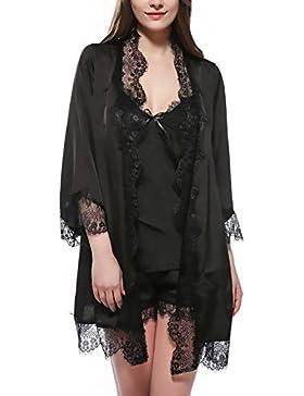 Saoye Fashion Vestaglia Donna Accappatoio Kimono Corto Tinta Unita V Scollo In Pizzo Ragazze Giovane Camicia Da...