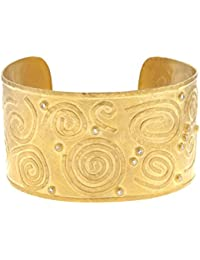 14ct Yellow Gold 35.5mm Pattern Cuff Bangle Bracelet Solid Diamond .21 Dwt
