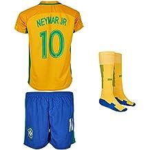 Brasilien 2017/18 # 10 Neymar Heim - Kinder Trikot und Hose mit Socken