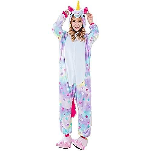 pijama de unicornio kawaii Unicornio Pijama multicolor diseño Y Unicornio pijama con las estrellas diseño,Unisex Traje de Disfraz Cosplay para Carnaval Halloween Navidad Ropa para Adultos Niños