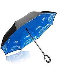 Umgekehrter Regenschirm, Reversion Regenschirm Winddichter Reiseschirm Umgekehrter Stockschirm mit Doppelten Stofflagen für Herren und Damen (Reverse Regenschirm - B)