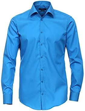 Venti Herren Hemd Kent Baumwolle Oberhemd Unifarben, Größe: 45, Farbe: Blau