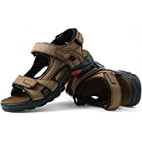 DADAWEN Men's Summer Leather Outdoor Beach Adjustable Strap Athletic Sport Sandals Khaki US Size 6.5