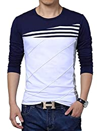 Seven Rocks Stylish Striped Cotton Panelled T-shirt