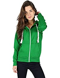 189dae41607 Ladies Plain Zip Up Hoodie Womens Fleece Hooded Top Long Sleeves Front  Pockets Soft Stretchable Comfortable Plus Sizes Small to…