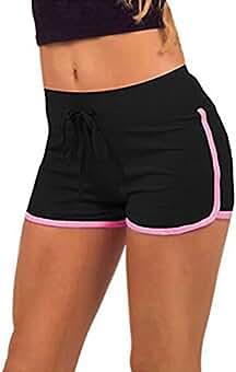 Hosaire Femme Short de Sport Casual Yoga Mode Plage avec Bords Colorés 3  Tailles Vert  245a9eca3c5