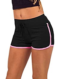 Hosaire Femme Short de Sport Casual Yoga Mode Plage avec Bords Colorés 3  Tailles Vert  e96f2397bf3