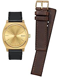 Nixon A1137-2591-00 - Reloj para hombre Time Teller 37mm, Dos correas, Dorado/Negro/Café