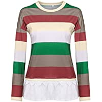 TEELONG Bluse Damen Plus Size Langarm-Print mit V-Ausschnitt Button Pullover Tops ShirtSweatshirt Longpullover Pulli Strickpullover Winterjacke Kapuze