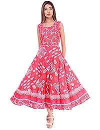 Jaipuri Style Women's Cotton Maxi Long Dress Jaipuri Printed Kurti (Red, Free Size Upto 42-XL) 1 free mask