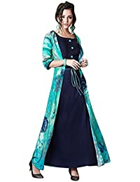 Rosaniya Fully Stitched Fine Quality Reyon Cotton A Line Digital Printed Maxi Dress / Tunic, Overlapped Attached Reyon Jacket for Women (FUSp1005), Indo Western Dresses for Women, Indo Western Gown, Casual Dress for Women Western, Maxi Dress for Women, Indowestern for Women, Indowestern dresses for women party wear, Indowestern Kurtis for women, Block print kurti, Holi Special, sale on amazon today
