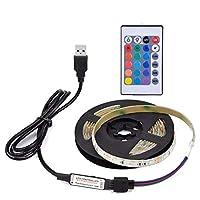 DC5V 13W 3 أمتار 180 مصباح LED RGB مع جهاز تحكم عن بعد، إضاءة تعمل باليو إس بي، إضاءة قابلة للتعديل 16 لونًا متعدد الألوان، فلاش/سكتة/بهتان/سلس 4 أنماط إضاءة IP65