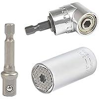 QLOUNI 7-19mm Universalschlüssel Adapter Mehrfunktional Steckschlüssel 105° Winkelschrauber Vorsatz Adapter Reparatur Werkzeuge