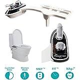 RioRand no eléctrico inteligente bidet mecánico accesorio de WC, agua caliente y fría boquillas dobles Jet de agua retráctil autolimpiante-Negro