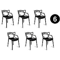 Lot de 6 chaises Salle à Manger Masters Noire Inspirée Kartell Philippe Starck