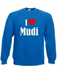 """Sweatshirt """"I Love Mudi"""" für Damen Herren und Kinder ... in den Farben Schwarz Weiss Blau mit Aufdruck"""