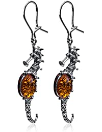 Baltic Honey Amber Sterling Silver Seahorse Earrings