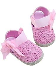 Koly Prewalker Zapatos, primeros pasos para bebé-niñas, sandalias de bowknot, flor de cordón (L, Rosa)