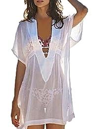 Robe Sexy Col Plongeant Manches Courtes Robe de Plage Transparente Pour Femmes Blanc