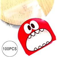 Hilai Galleta Caramelo Bolsas Auto-Adhesivo de la Galleta de panadería Decoración Bolsas de asado Tratar 100pcs DIY Regalo Bolsa (Monstruo Rojo)