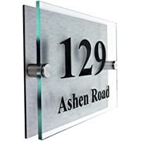 Premier Quality,Glass Look Acrylic Personalised House number Sign | 10 Year Guarantee | 2 Part Acrylic with choice of Fonts.