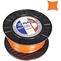 Hilo de nailon cuadrado para desbrozadora 2,4 mm, 136 m, en bobina, color naranja
