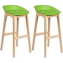 Woltu® # 5362x Taburete de bar Juego de 2bar Sillas acolchada, con piel sintética Diseño Silla Madera, verde, 2 unidades