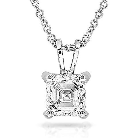 Pendente con diamante solitario da 3/8 k Asscher in oro bianco 14 k