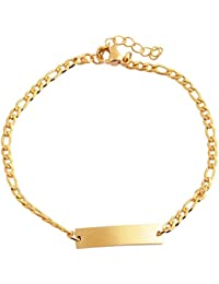 Akzent Acero Inoxidable tanque de pulsera cadena pulsera pulsera pulsera de eslabones, color dorado brillante con placa de grabado 003295000061y cierre de mosquetón, 18cm + 3cm garantía, Ancho 5MM