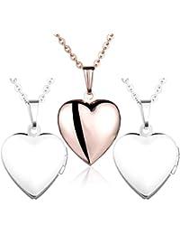Yumilok - Guardapelo de Acero Inoxidable, con cadena, ideal para poner una foto, incluye cadena con colgante, diseño ovalado, color oro rosa/plateado, azul, rosa, 3 Piezas