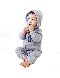 Bebé Mameluco con Capucha para Bebé Infantil Algodón Manga Larga Monos con Cremallera Jumpsuit