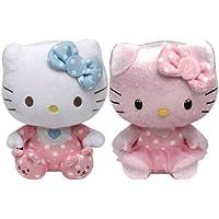Preisvergleich für Ty Beanie Babies Hello Kitty Rosa Baby mit Rassel und Rosa Schimmer-Set mit 2 Plüsch-Spielwaren - Pink Baby with Rattle and Pink Shimmer Set of 2 Plush Toys