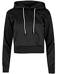 Oops Outlet Women`s Long Sleeve Cropped Top Ladies Pullover Plain Fleece Sweatshirt Hoody