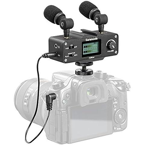 Saramonic CaMixer kit de micrófonos con micrófonos de condensador estéreo duales, mezclador digital y entrada XLR/Mini XLR con preamplificador con alimentación Phantom de +48V - para cámaras DSLR y videocámaras