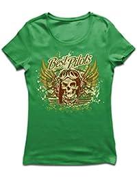 lepni.me Camiseta Mujer Los Mejores Pilotos - Avión Volando cráneo