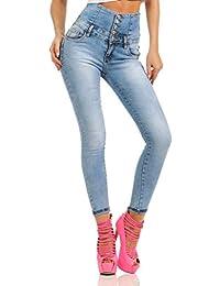 dd2fc758941b 5306 Fashion4Young Damen Jeans Röhre Damenjeans Stretch Denim High-Waist  Knöchellang Ankle Slim-Fit