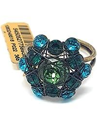 KONPLOTT Bended Lights Damen-Ring, Ringgröße verstellbar, Glas blau-grün -5450527759939