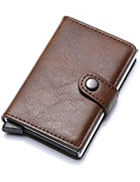 WeoHau Bolso De La Tarjeta De Seguridad De Aluminio RFID Hombres Cartera Retro Corto PU Elegante
