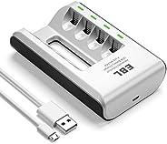 شاحن بطارية EBL USB 4 Bay AA AAA الذكي مع 4 حزم بطاريات AA 2800mAh قابلة للشحن