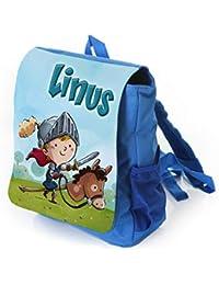 Preisvergleich für Kinderrucksack für Kleine Ritter in blau mit Name Bedruckt, Ideal für Kita/Kindergarten, Kindergartentasche