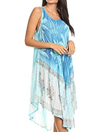 aa5a177d8f62 Sakkas Farzana Women Sleeveless Summer Caftan Midi Dress Tie-dye Light and  Fresh