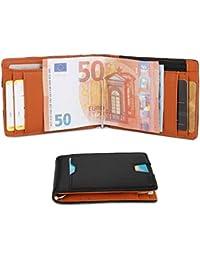 Herren Geldbeutel Geldbörse mit Geldklammer & Münzfach   RFID Blocker Kreditkartenetui Karten Portemonnaie   Dünne Brieftasche Portmonee für Männer