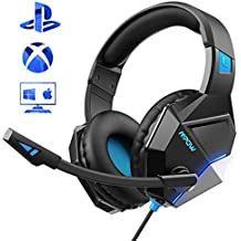Mpow Gaming Headset für PS4, EG10 PC Gaming Kopfhörer mit 50MM-Treiber, Super Leicht PS4 Gaming Headset, Noise Cancelling-Mikrofon, Over-Ear Gaming Kopfhörer für PC, Handy, Nintendo, Xbox One