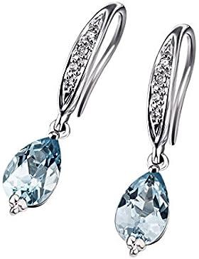 Goldmaid Damen-Ohrhänger 9 Karat 375 Weißgold 2 Blautopas 8 Diamanten SI/H 0,04 ct.
