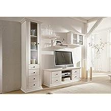 Wohnwand aus Kiefernholz, weiß lackiert, Schrank