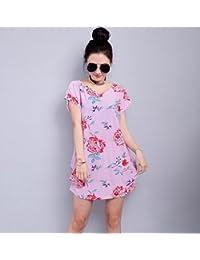 1770f537e79c4 ASGHILL Boho Nuevos Vestidos de Verano de Estilo Casual Moda de Manga Corta  de Hielo de Seda de Estampado Floral Corto Corto…