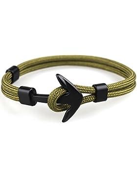 Vikings Anker Armband Nylon Anker Schwarz Unisex Länge 20 cm