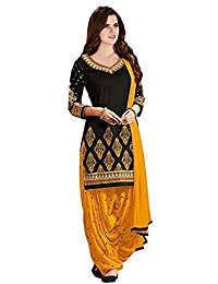 Aarvicouture Womens Cotton Party Wear Black Salwar Suit